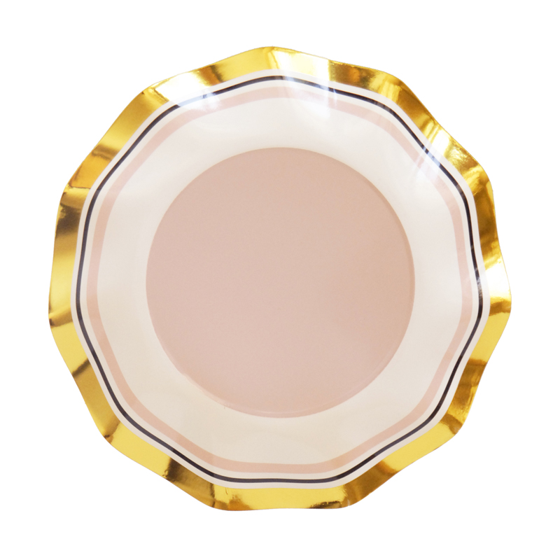 pastel pink and gold party plates