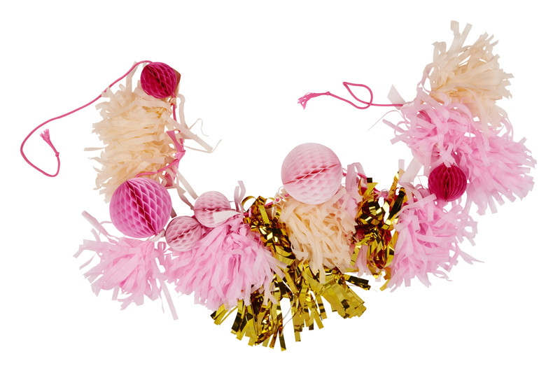 pink and gold tassel decorations