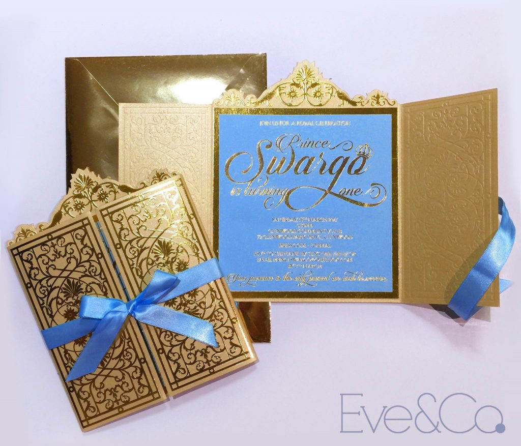 little prince gold and blue invitations