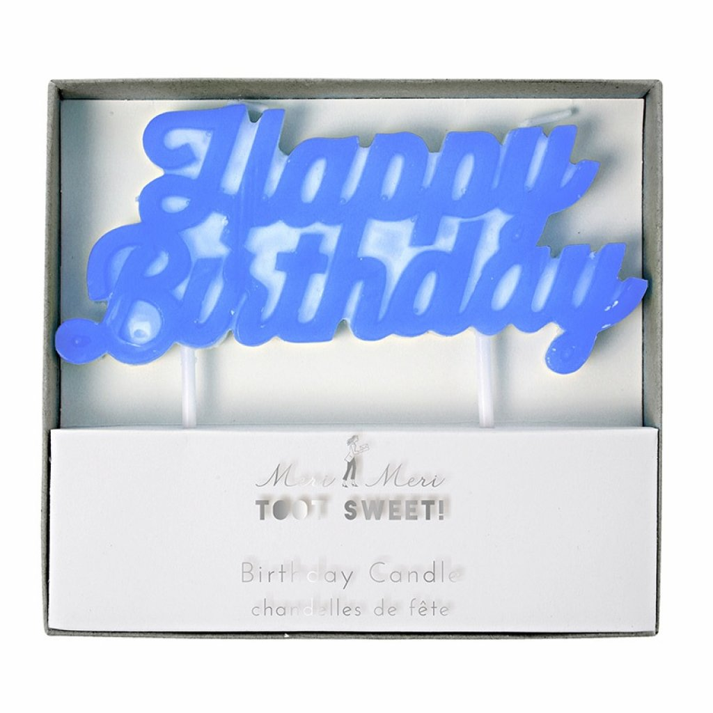 blue birthday candle