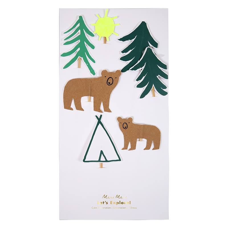 bear in the woods cake toppers