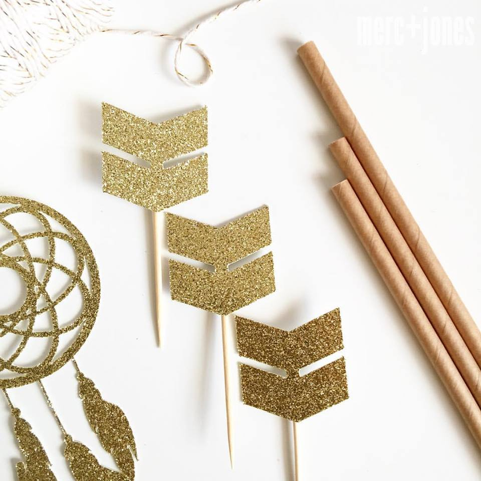 gold arrow cake toppers