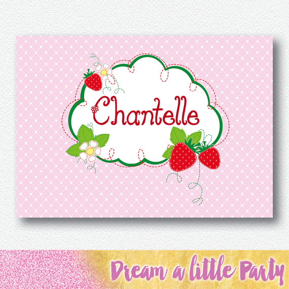 strawberry party stationery