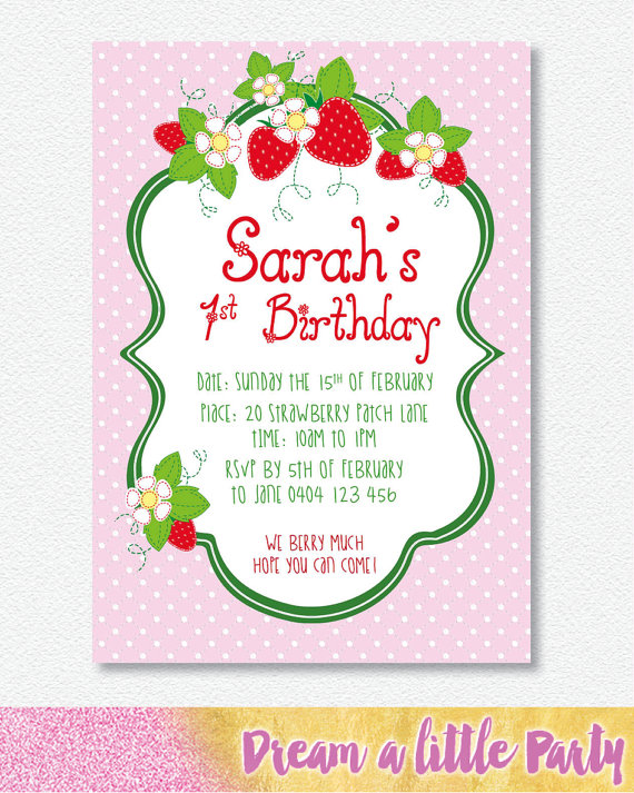 strawberry party invitations