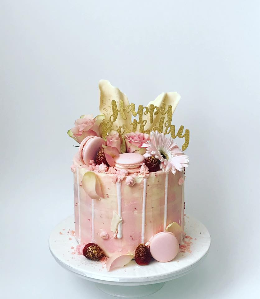 pink and gold cake
