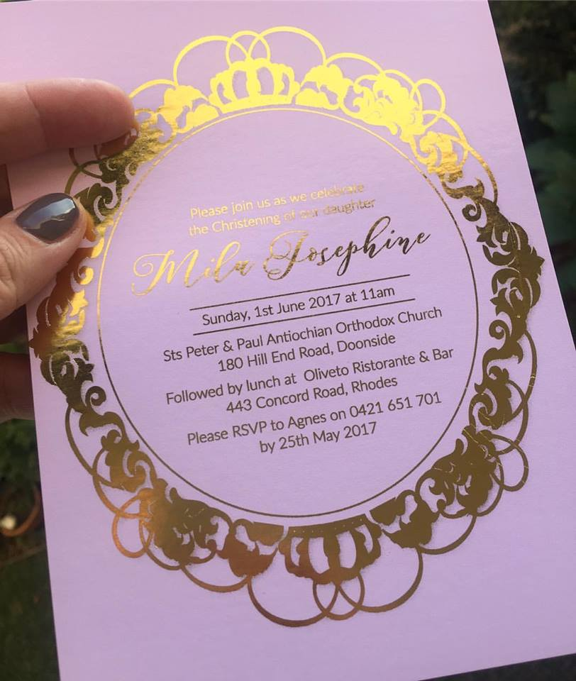 pink and gold invites