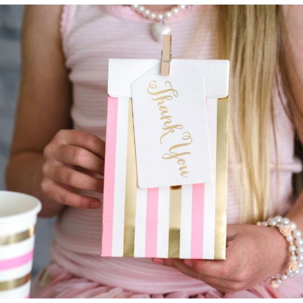 pink and gold favour bags