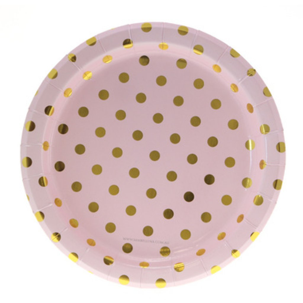 pink and gold plates