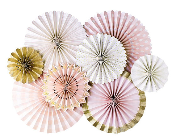 pink and gold paper fans