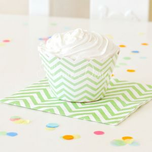 green chevron cupcake wrappers