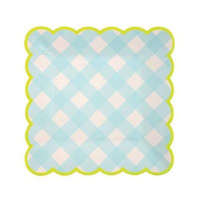 blue gingham paper plates