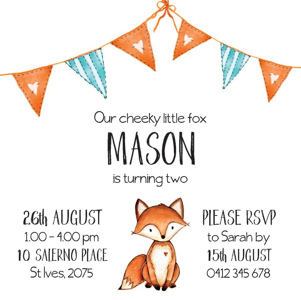 fox party invitations