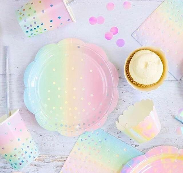 pastel rainbow party plates
