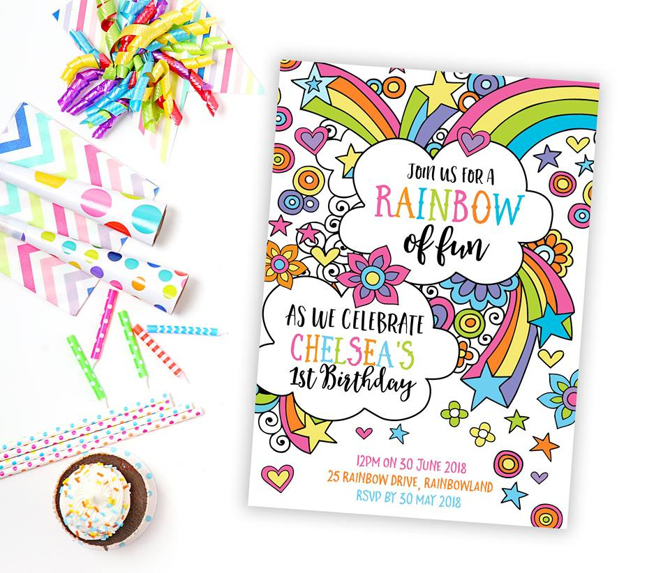 personalised rainbow party invitations