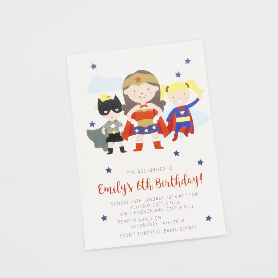 girls superhero invitations