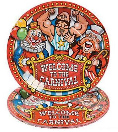 carnival themed paper plates