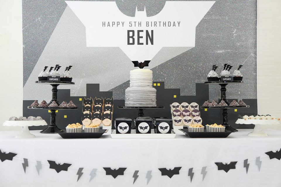 black and white superhero party theme