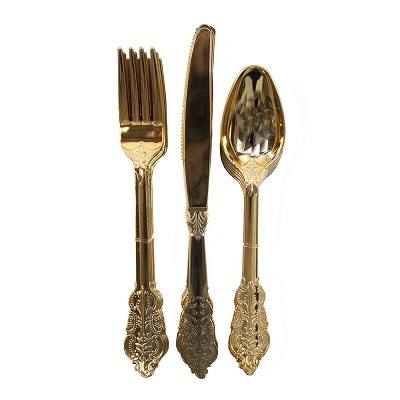 gold party cutlery